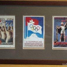 Coleccionismo deportivo: OLIMPIADAS !! CURIOSO CUADRO CON 3 POSTALES DISTINTAS OLIMPIADAS. 51 X 29 CM / BUENA CONSERVACIÓN.. Lote 55826648