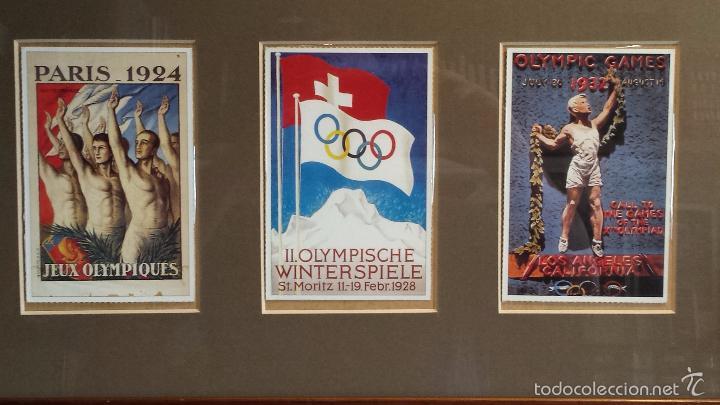 Coleccionismo deportivo: OLIMPIADAS !! CURIOSO CUADRO CON 3 POSTALES DISTINTAS OLIMPIADAS. 51 X 29 CM / BUENA CONSERVACIÓN. - Foto 2 - 55826648