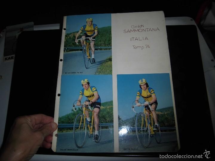 4 CICLISTAS DEL EQUIPO GELATI SAMMONTANA ITALIA 1974 (Coleccionismo Deportivo - Postales de otros Deportes )
