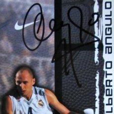 Coleccionismo deportivo: POSTAL BALONCESTO POST CARD BASKETBALL ALBERTO ANGULO REAL MADRID FIRMADA SIGNED AUTOGRAFO. Lote 60775255