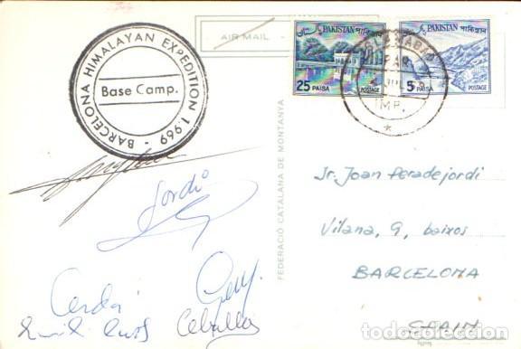 Coleccionismo deportivo: EXPEDICIÓ BARCELONA A L HIMALAIA 1969 - FIRMADA POR LOS ALPINISTAS, CIRCULADA DESDE PAKISTÁN - Foto 2 - 64008307