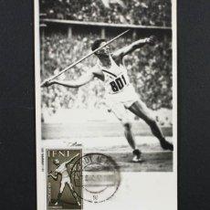 Coleccionismo deportivo: POSTAL ATLETISMO JABALINA DIA DEL SELLO 1959 MATASELLOS DE SIDI IFNI 13,50 X 9 CM, MUY RARA. Lote 87368200