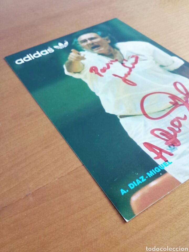 Coleccionismo deportivo: Postal publicidad Adidas autógrafo Antonio Diaz Miguel - Selección Española Baloncesto medalla plata - Foto 3 - 92980332