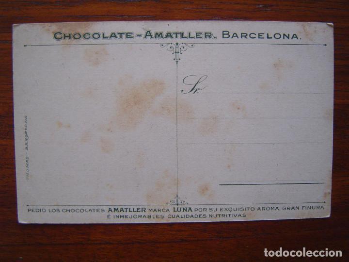 Coleccionismo deportivo: POSTAL de CHOCOLATES AMATLLER - BILLAR - CARAMBOLA , pintada por MARIANO ALONSO PEREZ - Foto 2 - 98705723