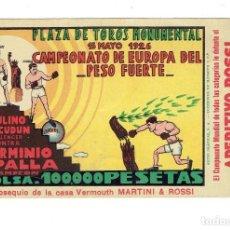 Coleccionismo deportivo: INTERESANTE Y RARO. OBSEQUIO MARTINI & ROSSI . POSTAL PUBLICITARIA BOXEO. ORIGINAL 1926. Lote 108775095