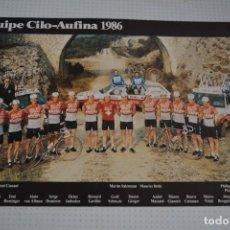 Coleccionismo deportivo: POSTAL EQUIPO CICLISTA CILO-AUFINA 1986 15 CM X 21 CM. Lote 109578335