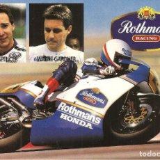 Coleccionismo deportivo: POSTAL, MOTOCICLISMO, SPENCER Y GARDNER, HONDA-ROTHMANS RACING, REVERSO DATOS DE MOTOS NS 500. Lote 115690231