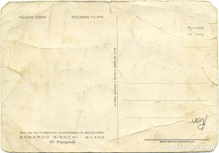 Coleccionismo deportivo: Antigua Postal : FAUSTO COPPI RICCARDO FILIPPI. Equipo BIANCHI (ciclismo) años 50 - Foto 2 - 116645551