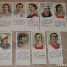 Coleccionismo deportivo: 9 POSTALES DE DEPORTISTAS. SERIE ESTRELLAS DE DEPORTE SOVIÉTICO. AÑO 1979. MIDEN 21X6 CM.. Lote 117062075