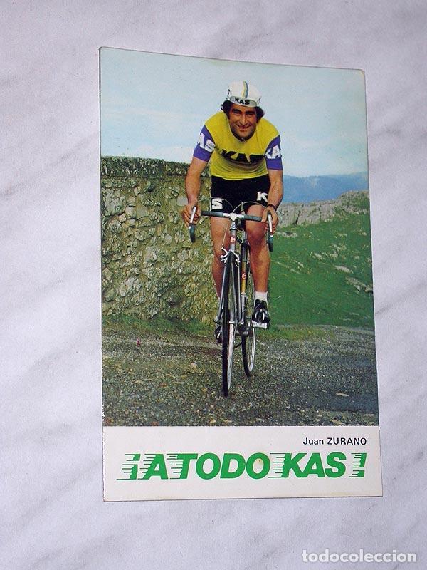 POSTAL PUBLICITARIA DE KAS. ¡A TODO KAS! JUAN ZURANO. CICLISMO. BICICLETA. EVAGRAF, VITORIA, 1975. + (Coleccionismo Deportivo - Postales de otros Deportes )