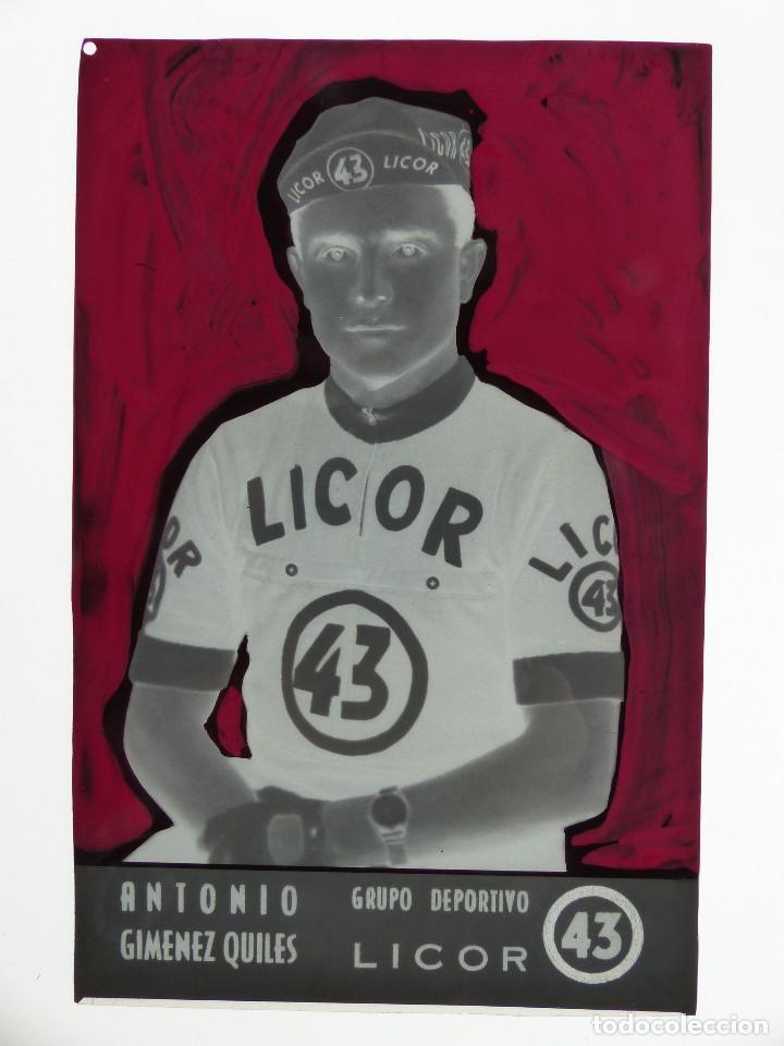 Coleccionismo deportivo: ANTONIO GIMENEZ QUILES, LICOR 43 CICLISMO, CLICHE ORIGINAL, NEGATIVO EN CELULOIDE - ED. ARRIBAS - Foto 2 - 130187451