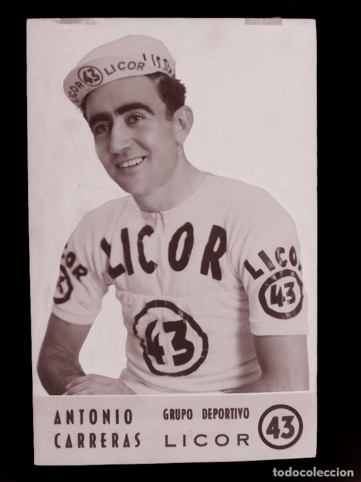 ANTONIO CARRERAS, LICOR 43 CICLISMO, CLICHE ORIGINAL, NEGATIVO EN CELULOIDE - ED. ARRIBAS (Coleccionismo Deportivo - Postales de otros Deportes )