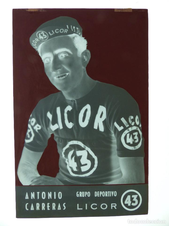 Coleccionismo deportivo: ANTONIO CARRERAS, LICOR 43 CICLISMO, CLICHE ORIGINAL, NEGATIVO EN CELULOIDE - ED. ARRIBAS - Foto 2 - 130187771