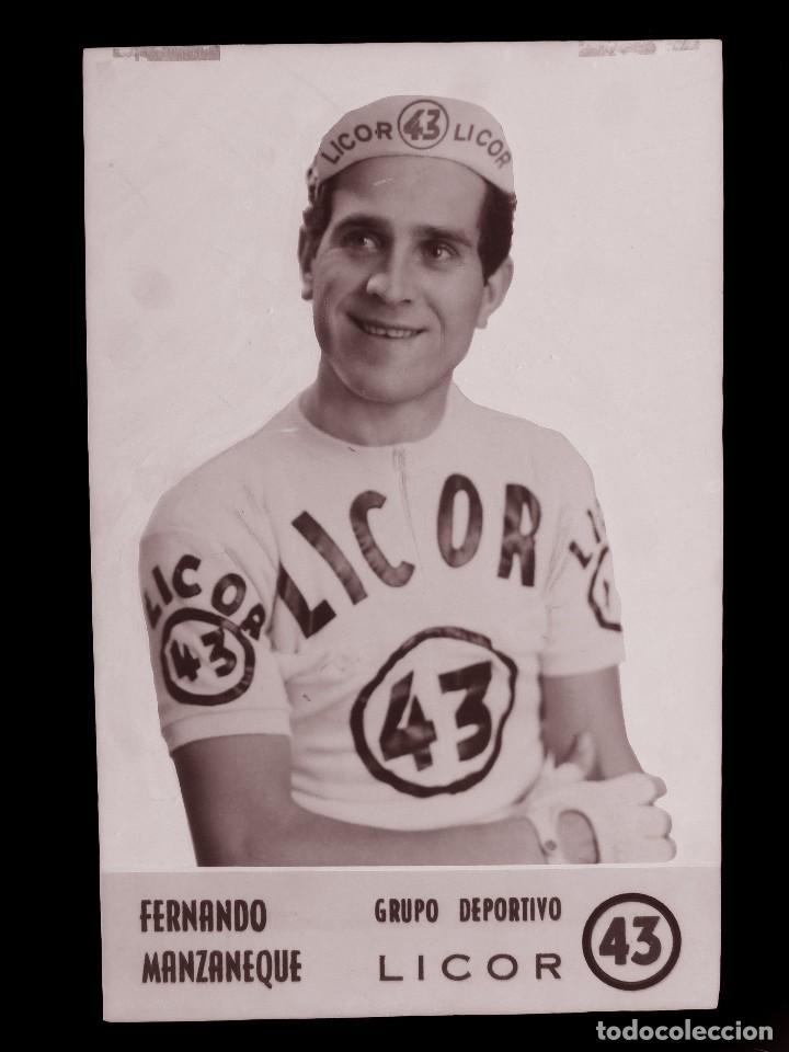 FERNANDO MANZANEQUE, LICOR 43 CICLISMO, CLICHE ORIGINAL, NEGATIVO EN CELULOIDE - ED. ARRIBAS (Coleccionismo Deportivo - Postales de otros Deportes )