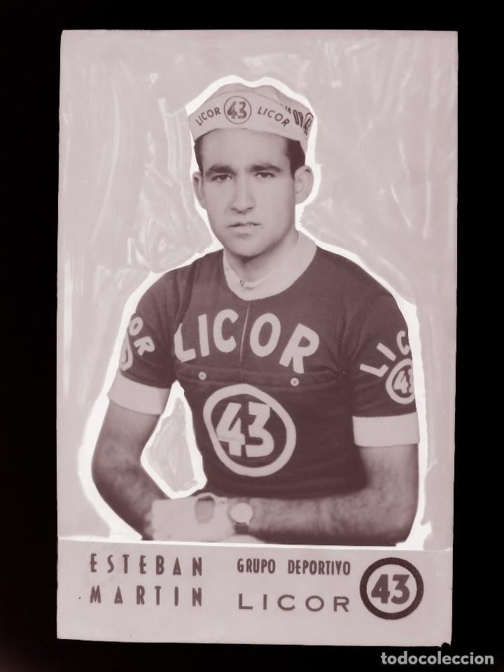 ESTEBAN MARTIN, LICOR 43 CICLISMO, CLICHE ORIGINAL, NEGATIVO EN CELULOIDE - ED. ARRIBAS (Coleccionismo Deportivo - Postales de otros Deportes )
