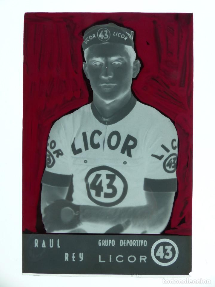 Coleccionismo deportivo: RAUL REY, LICOR 43 CICLISMO, CLICHE ORIGINAL, NEGATIVO EN CELULOIDE - ED. ARRIBAS - Foto 2 - 130188679