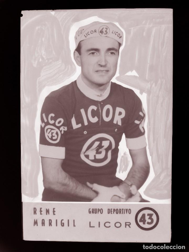 RENE MARIGIL, LICOR 43 CICLISMO, CLICHE ORIGINAL, NEGATIVO EN CELULOIDE - ED. ARRIBAS (Coleccionismo Deportivo - Postales de otros Deportes )