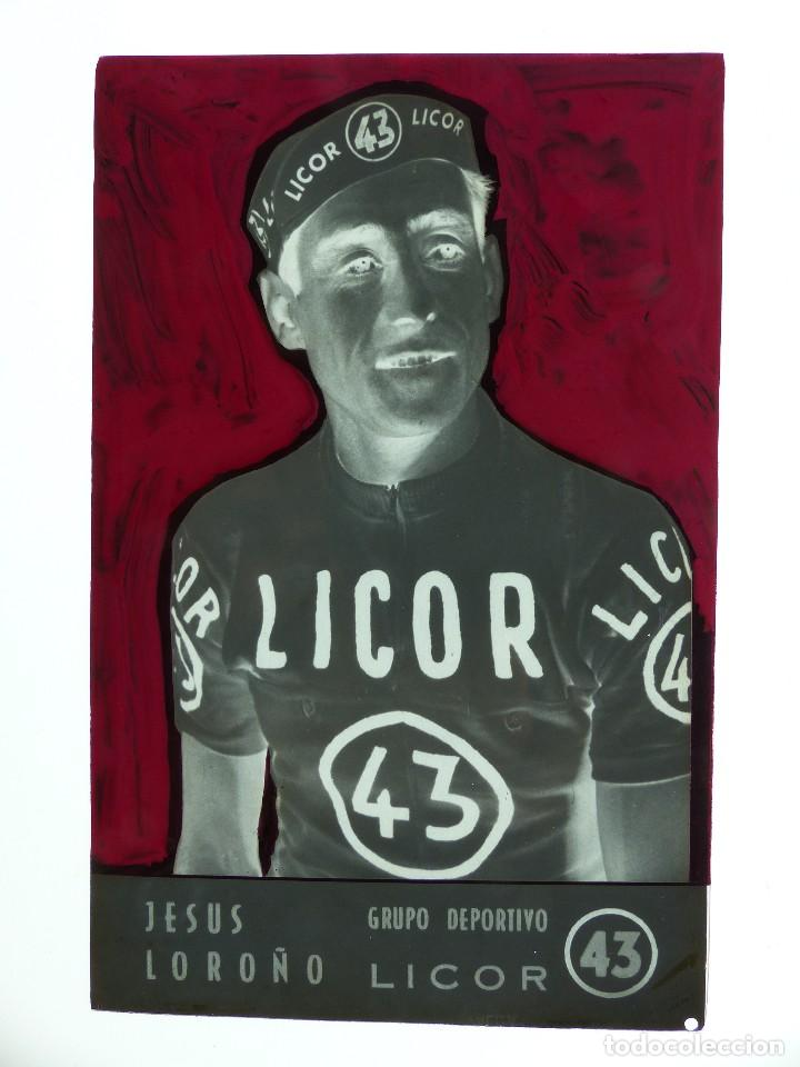Coleccionismo deportivo: JESUS LOROÑO, LICOR 43 CICLISMO, CLICHE ORIGINAL, NEGATIVO EN CELULOIDE - ED. ARRIBAS - Foto 2 - 130188999