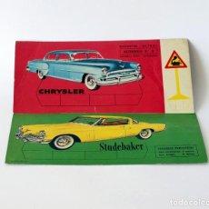 Coleccionismo deportivo: DOS TARJETAS DE RECORTABLES ULTRA. AUTOMÓVILES CHRYSLER Y STUDEBAKER. 1961 EDITORIAL ROMA, BARCELONA. Lote 142773966