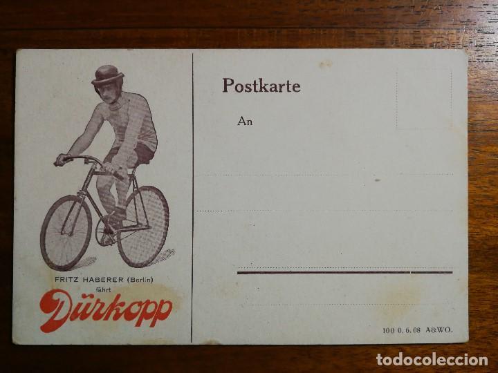 POSTAL PUBLICITARIA BICICLETAS DÜRKOPP - CICLISTA FRITZ HABERER ( BERLIN - ALEMANIA ) SIN CIRCULAR (Coleccionismo Deportivo - Postales de otros Deportes )