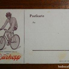 Coleccionismo deportivo: POSTAL PUBLICITARIA BICICLETAS DÜRKOPP - CICLISTA FRITZ HABERER ( BERLIN - ALEMANIA ) SIN CIRCULAR. Lote 197885785