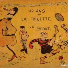Coleccionismo deportivo: FUT-21. ANTIGUA POSTAL JUGADORES DE RUGBY. AÑO 1904. 20 ANS. LA TOILETTE. LE SPORT. CIRCULADA. Lote 143318062