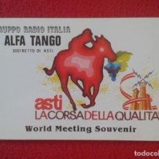 Coleccionismo deportivo: POSTAL TYPE POST CARD QSL RADIOAFICIONADOS RADIO AMATEUR ALFA TANGO ITALIA ASTI HÍPICA HIPPIQUE VER . Lote 160471238