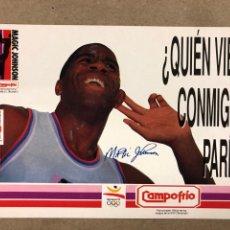 Coleccionismo deportivo: MAGIC JOHNSON. POSTAL PUBLICITARIA DE CAMPOFRIO PARA EL OPEN MACDONALDS DE 1991. SIN CIRCULAR. Lote 182961336
