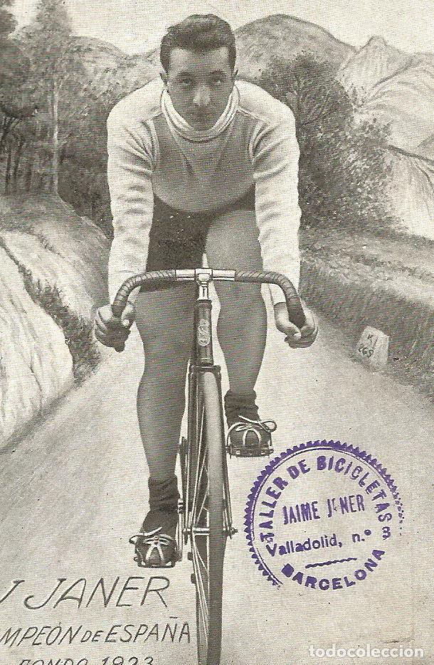 CICLISMO-J. JANER CAMPEON DE ESPAÑA-FONDO 1923-POSTAL ANTIGUA-(66.289) (Coleccionismo Deportivo - Postales de otros Deportes )