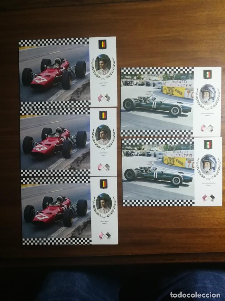 Coleccionismo deportivo: 11 postales sin circular - Automovilismo Fórmula 1 y 2 - Ferrari Cooper Maserati Lola Montjuich 1968 - Foto 2 - 192765633