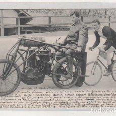 Coleccionismo deportivo: ARTHUR STELLBRINK, BERLIN, HINTER SEINEM SCHRITTMACHER JOS KÄSER. MOTOS, CICLISMOS. CIRCULADA. . Lote 193949473