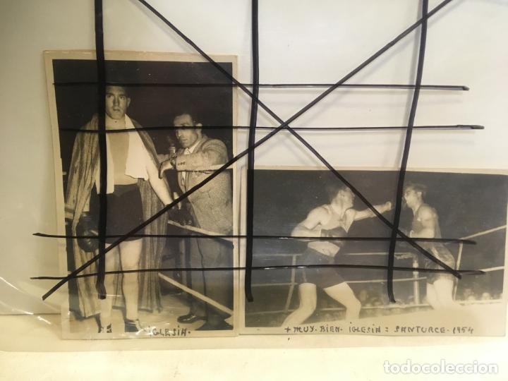 2 FOTOS DE BOXEADOR CON NOMBRE DE LUCIANO IGLESIAS LUCAS,SANTURCE ,VIZCAYA,AÑO 1954.NIC (Coleccionismo Deportivo - Postales de otros Deportes )