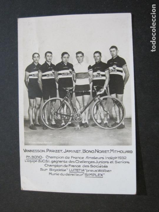 Coleccionismo deportivo: CICLISMO-CAMPEONATO AMATEUR FRANCIA 1932-CICLISTAS-FOTOGRAFICA-POSTAL ANTIGUA-(71.807) - Foto 2 - 209147742