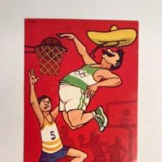 Coleccionismo deportivo: MEXICO 68. POSTAL JUEGOS OLÍMPICOS BALONCESTO.. ILUSTRA ENAUS (A.1967) DEDICADA.... Lote 231212770