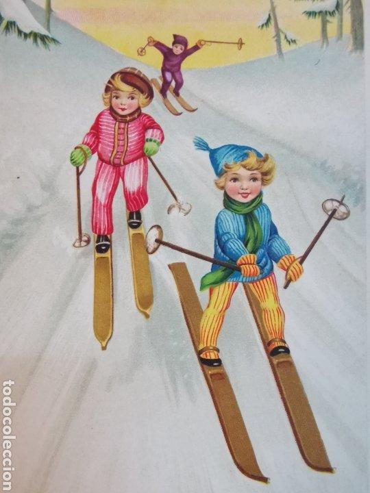 Coleccionismo deportivo: Tarjeta Postal escrita de dibujo de Esquiadores 1940s 1950s - Foto 2 - 233688885