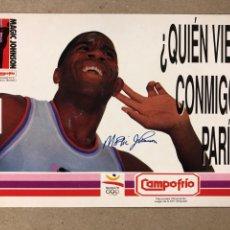 Coleccionismo deportivo: MAGIC JOHNSON. POSTAL PUBLICITARIA DE CAMPOFRIO PARA EL OPEN MACDONALDS DE 1991. SIN CIRCULAR.. Lote 234341970