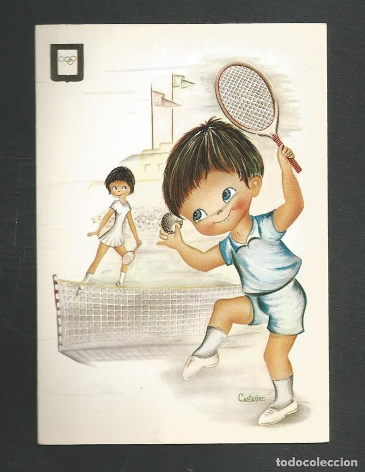 POSTAL SIN CIRCULAR DIBUJO - TENIS - EDITA ESCUDO DE ORO 3005/2 (Coleccionismo Deportivo - Postales de otros Deportes )