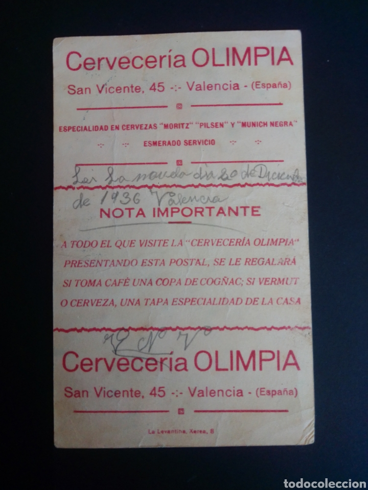 Coleccionismo deportivo: FOTOGRAFÍA DE MARTÍNEZ DE ALFARA CON PUBLICIDAD DE LA CERVECERÍA OLIMPIA. VALENCIA. AÑOS 30. - Foto 2 - 266196888
