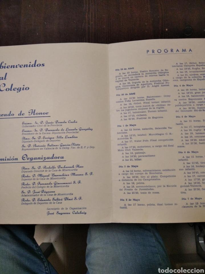 Coleccionismo deportivo: Díptico 2 semana Olímpica 1961 Valencia - Foto 2 - 268948134