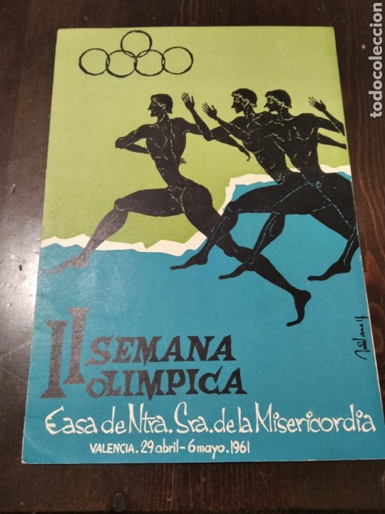 DÍPTICO 2 SEMANA OLÍMPICA 1961 VALENCIA (Coleccionismo Deportivo - Postales de otros Deportes )