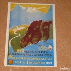 Coleccionismo deportivo: POSTAL DE VUELTA CICLISTA A CATALUÑA 1935. Lote 270221428