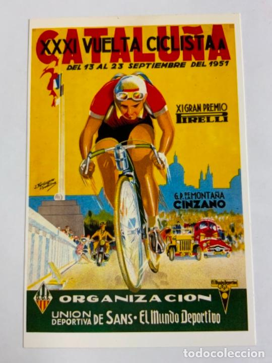 REPRODUCCION ANTIGUA POSTAL DE 31A VUELTA CICLISTA CATALUÑA - 1951. MIDE UNOS 15X10CM. IMPECABLE (Coleccionismo Deportivo - Postales de otros Deportes )
