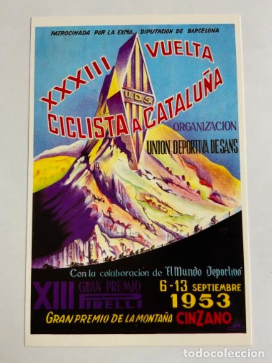 REPRODUCCION ANTIGUA POSTAL DE 33A VUELTA CICLISTA CATALUÑA - 1953. MIDE UNOS 15X10CM. IMPECABLE (Coleccionismo Deportivo - Postales de otros Deportes )