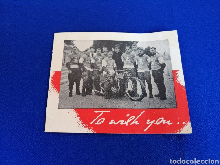 1946 WEMBLEY LIONS SIGNATURE CARD MOTORCYCLES COMPETITION (WEMBLEY LIONS MOTOCICLISTAS 1946) (Coleccionismo Deportivo - Postales de otros Deportes )