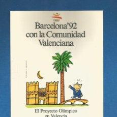 Coleccionismo deportivo: POSTAL SIN CIRCULAR BARCELONA 92 CON LA COMUNIDAD VALENCIANA (CARTEL COBI) EDITA PRODUCTO OFICIAL. Lote 293279548