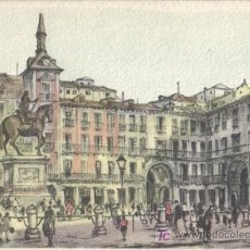 Postales: MADRID, POSTAL DIBUJO PLAZA MAYOR EDITORIAL SIDE Nº 19. Lote 26968575