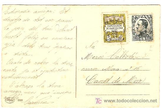Postales: Postal de Margret Boriss. Circulada con sello España 15 c. y viñeta Exposición Barcelona 1930 - Foto 2 - 4460044