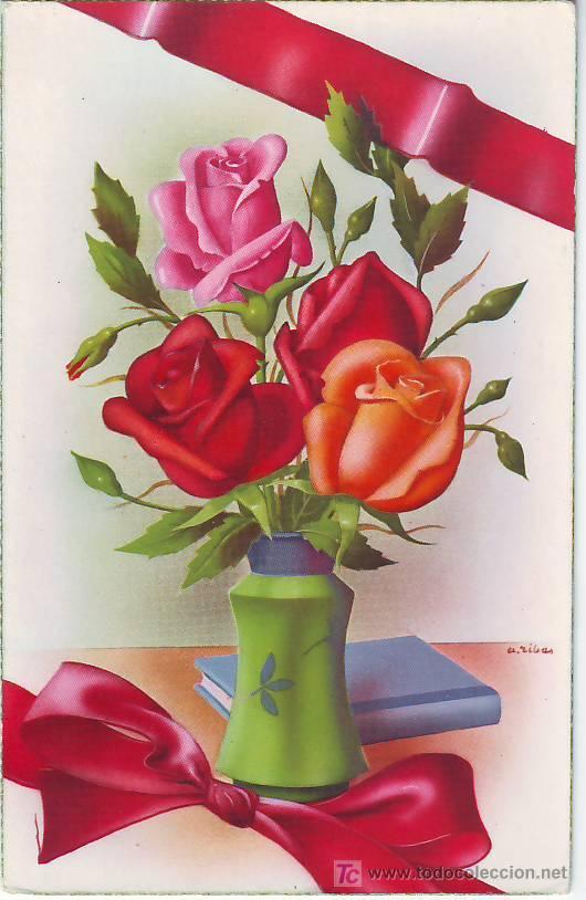 ptl postal antigua - jarron con flores - rosa - Comprar Postales ...
