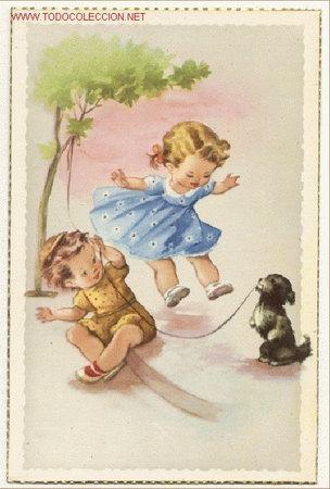 Preciosa postal divertido dibujo ni os y perr comprar - Ilustraciones infantiles antiguas ...