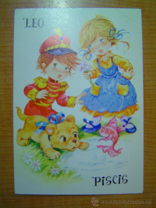 POSTAL LEO 21 JULIO - 21 AGOSTO PISCIS 19 FEBRERO - 20 MARZO SIN CIRCULAR (Postales - Dibujos y Caricaturas)
